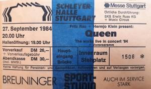 Fotos Queen in Stuttgart am 27.09.1984 (Teil 2)